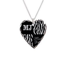 Black And White Animal Print Monogram Necklace