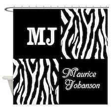 Black And White Animal Print Monogram Shower Curta