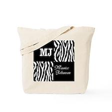 Black And White Animal Print Monogram Tote Bag