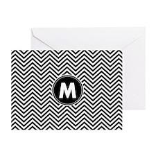 Black White Chevrons Monogram Greeting Cards