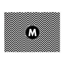 Black White Chevrons Monogram 5'x7'Area Rug