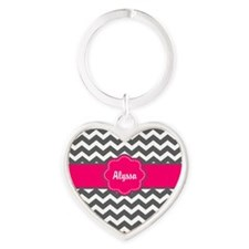 Gray and Pink Chevron Personalized Keychains