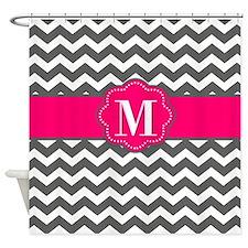 Gray Pink Chevron Monogram Shower Curtain
