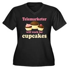 Telemarketer Will Work For Cupcakes Women's Plus S