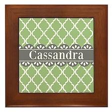 Sage Moroccan Lattice Grey Lace Framed Tile