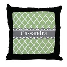 Sage Moroccan Lattice Grey Lace Throw Pillow