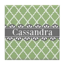 Sage Moroccan Lattice Grey Lace Tile Coaster