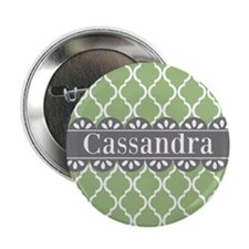 "Sage Moroccan Lattice Grey Lace 2.25"" Button"