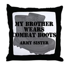 Army Sister Brother Combat Boots Throw Pillow