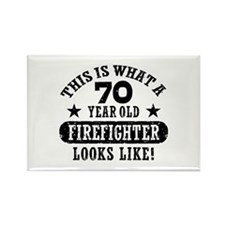 70th Birthday Firefighter Rectangle Magnet