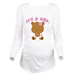Cute Baby Bear Its A Girl Long Sleeve Maternity T-