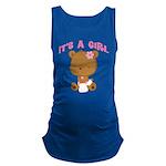 Cute Baby Bear Its A Girl Maternity Tank Top
