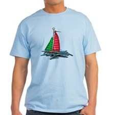 Red and Green Xmas Sailboat T-Shirt