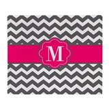 Monogram gray chevron blanket Blankets