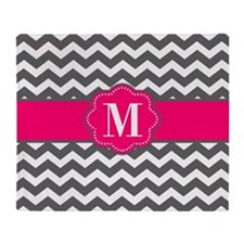 Gray Pink Chevron Monogram Throw Blanket