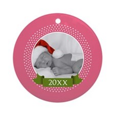 Photo Frame with Year Pink Ornament (Round)