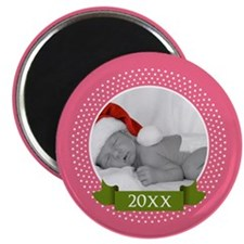 Photo Frame with Year Pink Magnets