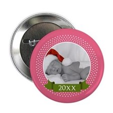 "Photo Frame with Year Pink 2.25"" Button"
