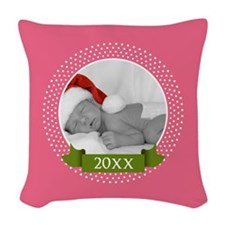 Photo Frame with Year Pink Woven Throw Pillow