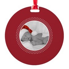 Photo Frame Red Polka Dots Ornament