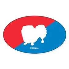Pekingese Diagonal Oval Decal