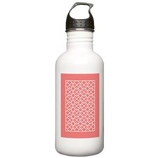 coral white geometric pattern Water Bottle