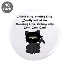 "Ninja Kitty 3.5"" Button (10 pack)"