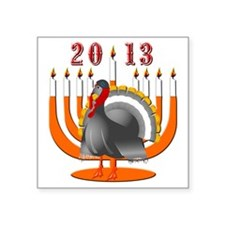 "2013 Turkey and Menorah Square Sticker 3"" x 3"""