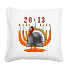 2013 Turkey and Menorah Square Canvas Pillow