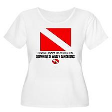 Dive Flag (Diving Not Dangerous) Plus Size T-Shirt