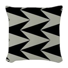 Black and Grey Arrowhead Pattern Woven Throw Pillo