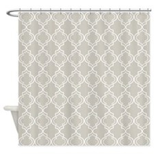 Natural Moroccan Quatrefoil Shower Curtain