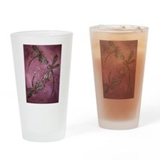 Dragonfly Flit Dusky Rose Drinking Glass