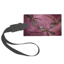 Dragonfly Flit Dusky Rose Luggage Tag