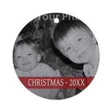 Modern Christmas Red Ornament (Round)