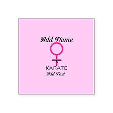 """Karate Black Belt Female Square Sticker 3"""" x 3"""""""