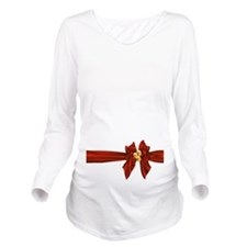Christmas Bow Long Sleeve Maternity T-Shirt