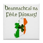 Gaelic & Map of Ireland Tile Coaster