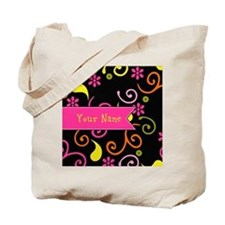 Girly Floral Swirls Monogram Tote Bag