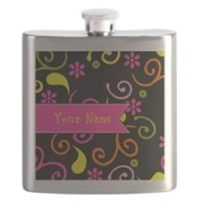 Girly Floral Swirls Monogram Flask