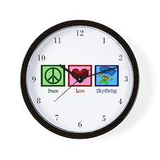 Peace Love Skydiving Wall Clock