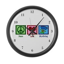 Peace Love Skydiving Large Wall Clock