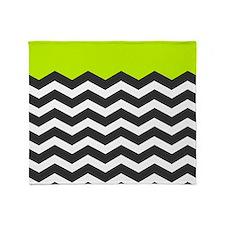 Lime Green Black and white chevron Throw Blanket