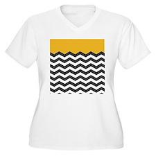 Yellow Black and White Chevron Plus Size T-Shirt