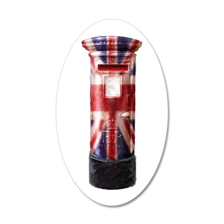 Union Jack Post Box 35x21 Oval Wall Decal
