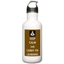 Carry on learning (brown) Sports Water Bottle