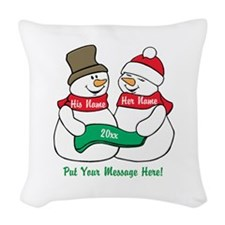 Personalize It Christmas Woven Throw Pillow