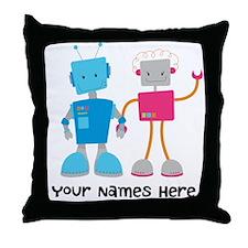 Robot Couple Retro Throw Pillow
