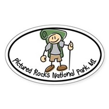 Pictured Rocks Boy Hiker Oval Decal