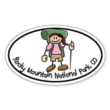 Rocky Mtn Girl Hiker Oval Decal